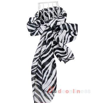 Fashion New Hot Zebra Animal Prints Lady Long Zebra Large Stripe Scarf M3AO