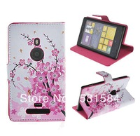 Pink Plum Card Slots Leather Case Stand for Nokia Lumia 925+1pcs film.freeshipping