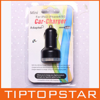 8203 Free ship Mini Double USB car charger adapter 2.1A/1A for ipad for iphone and Samsung N7100