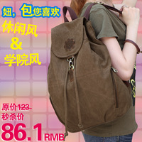 Casual canvas backpack women's preppy style vintage travel bag backpack