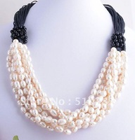 Free ship!!! charm! natural freshwater Pearl crystal necklace