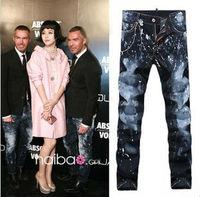 DSQ Top Men Famous Jeans Pants Paint Decoration Washing White Classic Straight Slim Cool Man Denim Pants D013