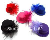 "2014 Mini Top Hat, Hairclip Fascinator W/ feather, 5"" in diameter, headpiece, 6 Colors, 50pcs/lot"