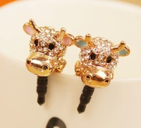 Wholesale Fashion Cartoon animal head general 3.5mm earphones dust plug mobile hole chick cow free shipping LP002