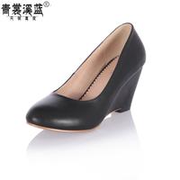 Women round toe genuine leather wedges black single shoes plus size