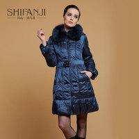 201 fashion medium-long fox fur slim down coat