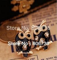 Min.Order $15 Free Shipping  Female'Trend Cute Black Eye Owl Crystal Stud Earrings Fashion Black Owl Stud Earring For Women