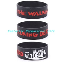 New arrival!  5 pcs/ lot, free shipping/ The Walking Dead/ Silicone bracelet/1 inch Silicone band/ Silicone wristband