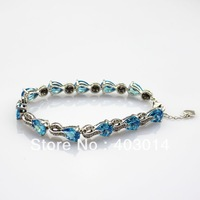 Free Shipping 100% 925 Silver Jewelry 8x10mm Created Blue Topaz  and Clear Cubic Zircon Link Bracelets (B02)