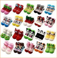 12pairs/lot free shipping wholesale new arrival baby girl boy cute cartoon outdoor shoes kids winter Anti-slip Walking Sock