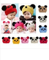 1pcs Free Shipping!! 2013 The Latest Cute Children Panda Dual Balls  Warm Hats  Baby Winter Knitted Caps  fast shipping