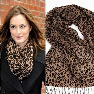 2014 Autumn winter new style fashion women long cashmere fringe trim shawl scarf gold leopard print scarves wholesale