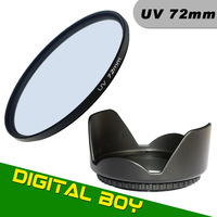 HOT SALES 100%Quality 72mm UV lens Filter+Lens Hood Protector for Nikon Canon Sony DSLR Camera