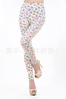 Fashion elastic seamless k1041 faux denim small flowers doodle print ankle length legging