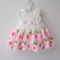 Retail 1Pcs 2015 girls Princess dress flowers flower girl dress quality tank dress wedding  free shipping