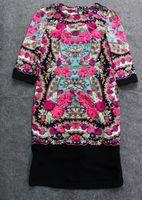 Plus size plus size national trend vintage print faux silk three quarter sleeve one-piece dress slim