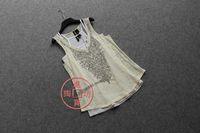 Free Shipping Burned Fabric Hot Bead Sequined Embellish Pattern Twinset T Shirt Plus Size Women's T Shirts + Tank tops
