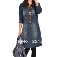 korean women 2013 autumn new brand casual long-sleeved denim dress large size  were thin cute knee-length dress