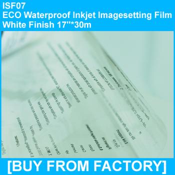 """Transparent ECO PET Waterproof Inkjet Screen Printing Film 17""""*30m"""
