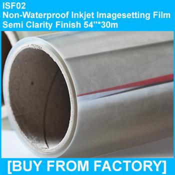 "Non-waterproof Semi-clarity Inkjet PET Screen Printing Film 54""*30m"