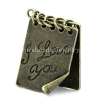 "Free Shipping! Charm Pendants Note Book Antique Bronze ""I Love You"" Carved 26x20mm,10PCs (B25093)"
