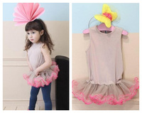 2013 children's clothing female child hot-selling solid color ballet skirt one-piece dress kid's skirt princess dress tank dress