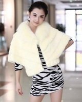 2013 New Arrival Women's Winter Warm Loose Batwing Sleeve Rabbit Hair Coat Beige Sent from Russia