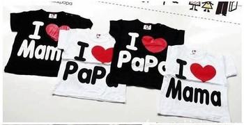 2014 IN STOCK baby Short Sleeve Shirt baby Tee shirt boy & girl T-shirt love papa mama t shirt printed stretch short shirt
