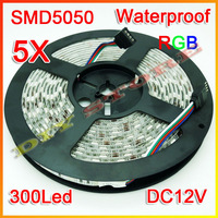 Wholessale Brand New 5 rolls DC12V  Led Strip 5M SMD 5050 300 LEDs/Roll Glue waterproof IP65+free shipping-10000613