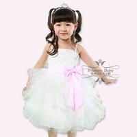 2013 new fashion love pattern strapless puffy flower girl dress children formal dress free shipping