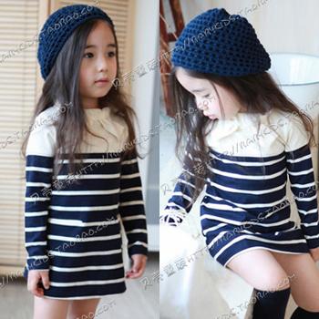 Free fast shipping 2014 autumn white blue stripe girls long-sleeve dress slim hip dress girl one-piece dress girls shirts