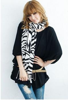 Scarf slanting stripe faux zebra print scarf ultra long cape scarf