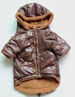 Autumn and winter pet clothes dog clothes casual wear wadded jacket small dog sportswear brown
