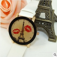 2013 Fashion Manufacturers Selling High Quality Pu Leather Strap Mouth Shaped woman Sexy Quartz watch  Free Shipping