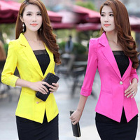 Free Shipping Woman's Slim Blazer One Button Women's Blazer Candy Color Three Quarter Sleeve Suit FS-022