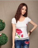 National trend t-shirt 100% cotton embroidered t-shirt 2013 spring and summer 389