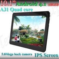 """10"""" 5.0M Pixels IPS allwinner A31 Cortex A7 2G/16GB 1280*800 HDMI Android 4.1 quad core dual camera tablet pc"""