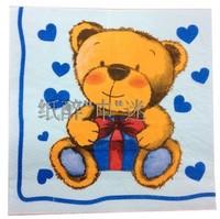 "New color napkin,""blue heart print"" napkin, party napkin paper 33x33 cm 20 pcs/pack 7 packs/lot free shipping wholesale"