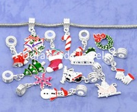 Free Shipping! 50 Enamel Christmas European charm pendants for bracelet & necklace (B09923)