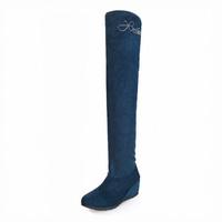 2014 rhinestone elevator stovepipe 25pt elastic velvet long  boots repair 2 knee-length women boots