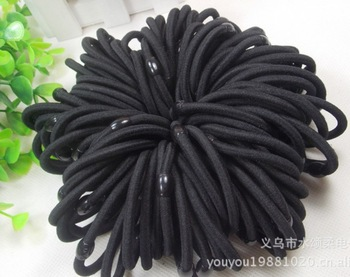 Free Shipping 100pcs/lot Black or Coffee Color Rope Elastic Girl's Hair Ties Bands Headband Hair Strap With Plastic Connector