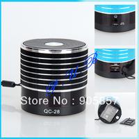 50pcs/lot Free Shipping Qc-28 mobile phone usb flash drive audio mini tf card speaker display screen subwoofer