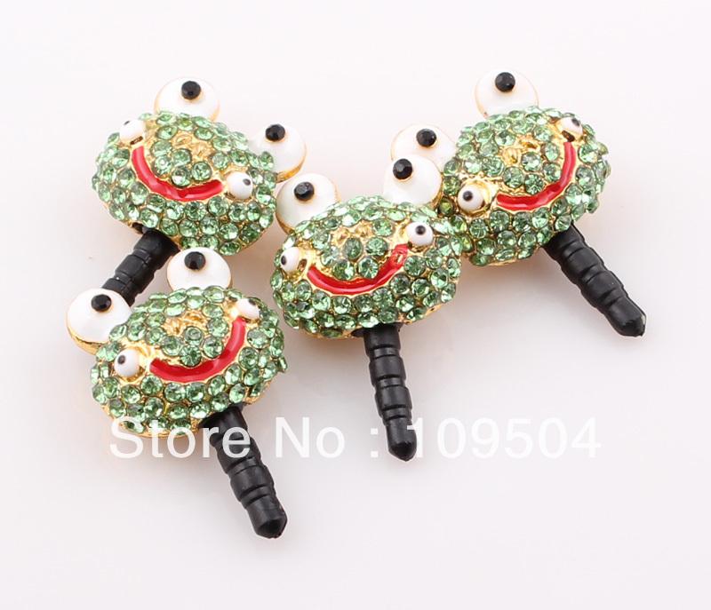 Crystal Cartoon Frog Dust Proof Plug Animal Frog Anti Dust Plug Cap Mobile Phone Jewelry Wholesale ZO31(China (Mainland))