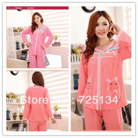 2013 Autumn and spring winter women's long-sleeve pure cotton cartoon dot sleepwear casual pajama set