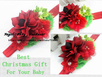 Baby girl Christmas headband Winter Fabric Flowers with double Mini Satin Ribbon  and mini pearl diamond chiffon flower