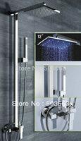 """LED Wholesale 12"""" led Bathroom Rainfall Shower Head+ Arm Hand Spray Valve Faucet Set S-653"""