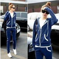 Hot Sale 2013 New Autumn winter Cardigans Sports Hoodie &Set two-piece thickening of hoodies suit