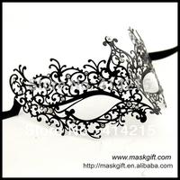 100% High Quality Venetian Filigree Metal Masks 48pcs/lot Black Masquerade Party Masks With Stones Free Shipping MA005-BK