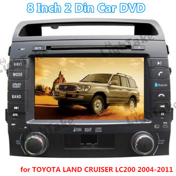8 Inch 2 Din Touch Screen Car DVD Multimedia Player with Bluetooth GPS IR Remote Control for TOYOTA LAND CRUISER LC200 2004-201