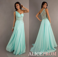 New Hot One Shoulder Sheer Back Sweetheart Crystal Mint Green Chiffon Long Pageant Prom Dresses Formal Gown New Fashion 2013